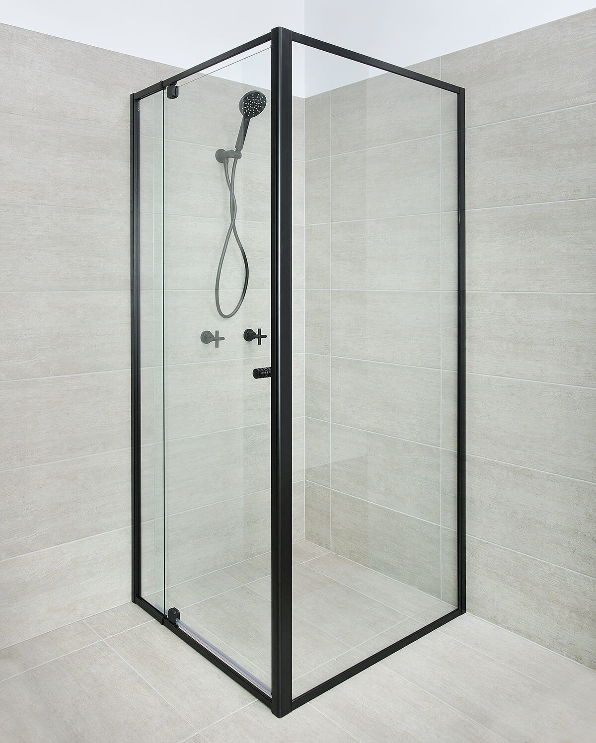 Semi-Frameless Shower Screen Black Colour