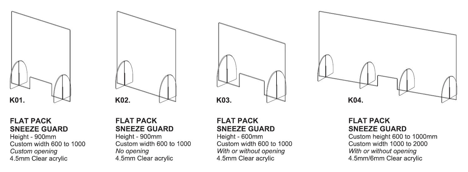 Acrylic Sneeze Guards - Flat Pack Models